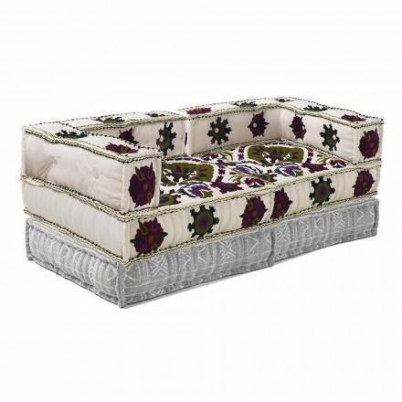 Dizajni etnik me divan me dy vend në pëlhurën e lara-lara - fibër