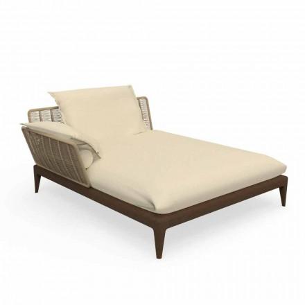 Sofa në natyrë Chaise Longue në dru tik dhe pëlhurë - Cruise Teak nga Talenti