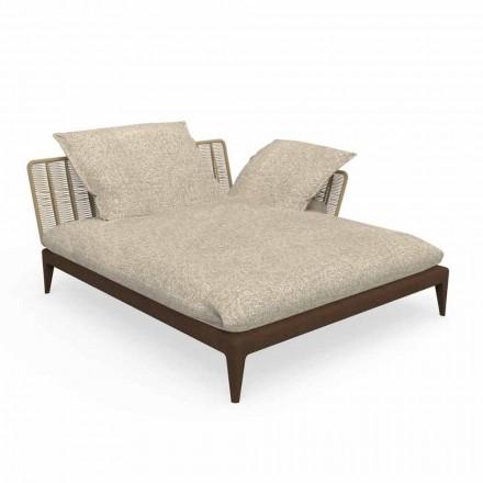 Garden Chaise Longue Sofa në Tik dhe pëlhurë - Lundrimi Teak nga Talenti