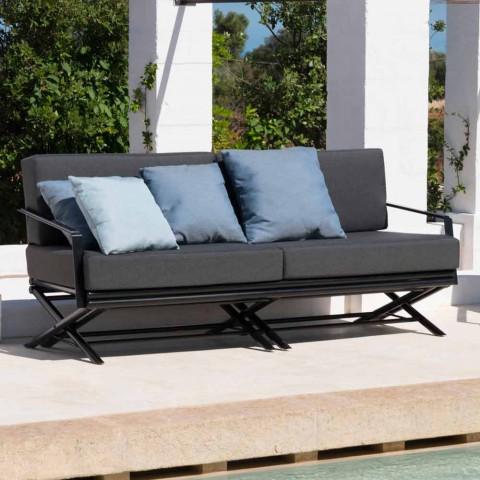 Divan për ambiente të jashtme me 3 ulëse në dru natyral ose pëlhurë të zezë dhe luksoze - Suzana