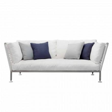 Sofa në natyrë në çeliku dhe jastekë të bardhë PVC të endur - Ontario6