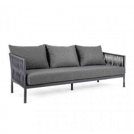 Sofa e jashtme alumini dhe litar me jastëkë pëlhure, lëvizje shtëpiake - Shama