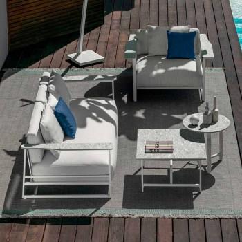 Divan në natyrë në alumin, pëlhurë dhe armrests në Gres - Riviera nga Talenti