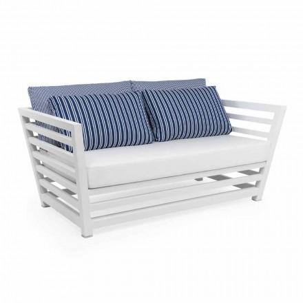 Divan me kopsht me 2 ulëse në alumini me dizajn të bardhë ose të zi - Cynthia