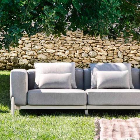 Divan 3 vendesh për kopsht me shtrirje, dizajn në alumin dhe pëlhurë - Filomena
