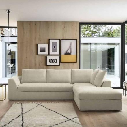Krevat divani këndor me pëlhurë ngjyrë bezhë Prodhuar në Itali - Ortensia