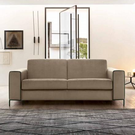 Krevat divani prej pëlhure moderne me këmbë metalike prodhuar në Itali - Tulipano