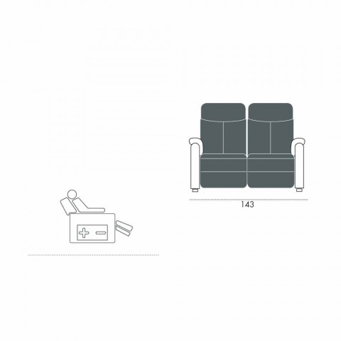 2 pushime elektrike relaksuese, 2 karrige elektrike Gelso, dizajn modern