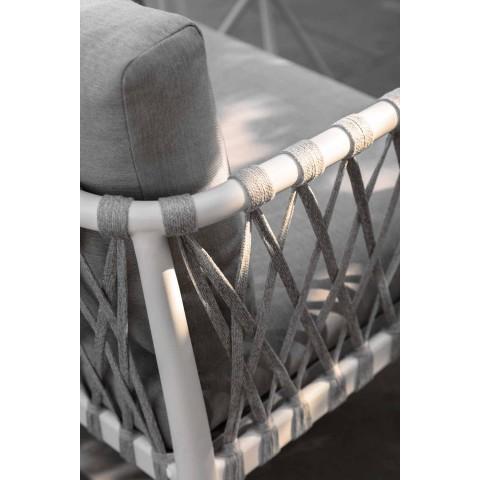 Divan kopsht modern me tre ulëse në alumin dhe pëlhurë - Sofy nga Talenti
