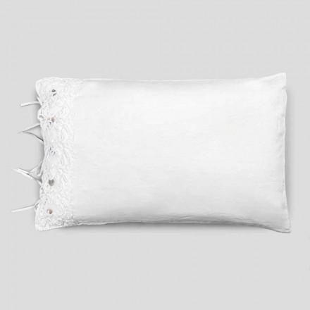 Jastëk për liri shtrati me dantella të bardha, dizajn luksoz i prodhuar në Itali - Puthje