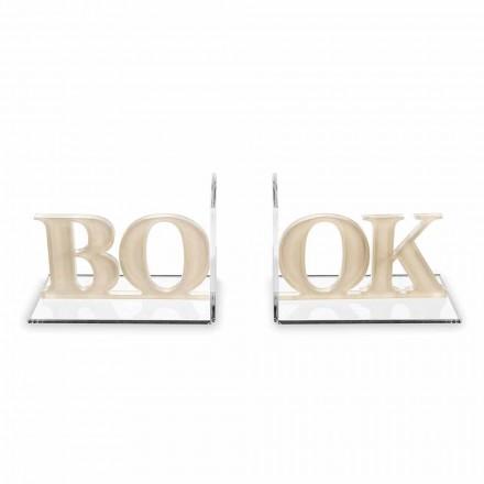 Dizenjoni Libra të Librave në Beige ose Libër të Shkruar me Plexiglas të Bardhë - Shkurt