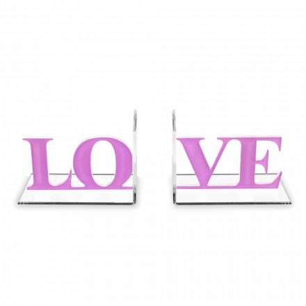 Dizajnoni Libra me Dashuri të Shkruar në Lavender ose Red Plexiglass - Dashuri