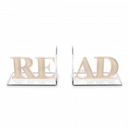 Mbajtëse librash në dizajnin e lexuar me ngjyrë bezhë ose të bardhë me pleksiglas - Vëreni