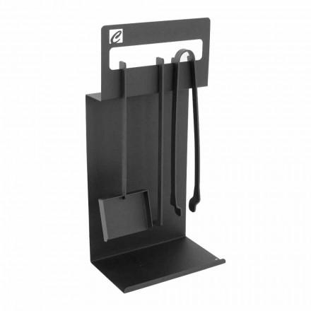 Seti i mjeteve të projektimit për fireplace në çelik të zi të bërë në Itali - Ostro