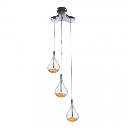 Llambë pezullimi me 3 ose 4 drita në gotë Borosilikat dhe Metal - dardha