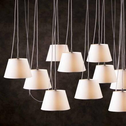 Llambë bashkëkohore me dritë 12 dritë Chrome, hije e bardhë e llambës