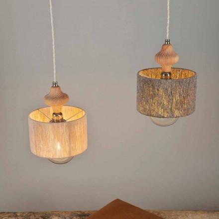 Llambë moderne varëse prej 2 dritash me element druri Bois