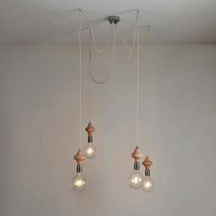 Dizajn modern 4 dritë varëse varëse me dekor Bois