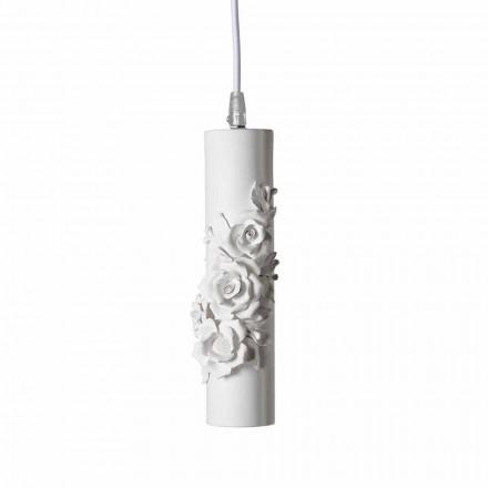 Llambë pezullimi në qeramike të bardhë mat me lule dekorative - Revolucioni