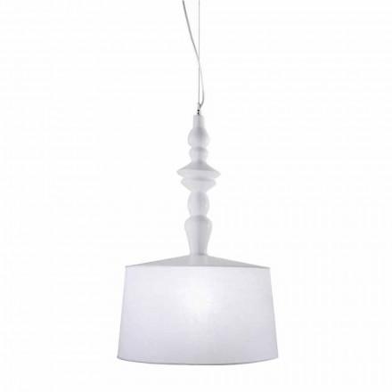 Llambë pezullimi në qeramikë të bardhë. Shade in Linen Short Design - Kadabra