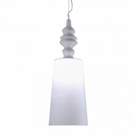 Llambë pezullimi në abazhur të bardhë qeramike në dizajn të gjatë prej liri - Kadabra