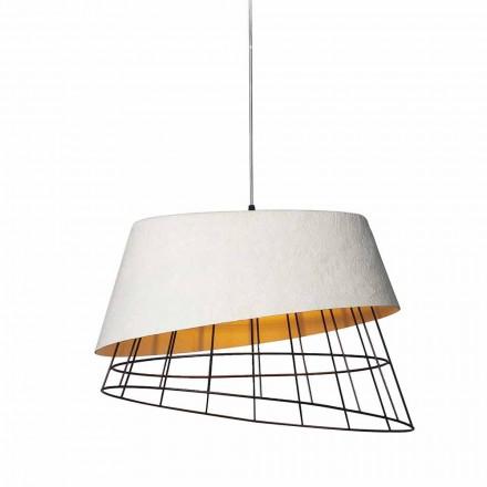Llambë pezullimi në tekstil me fije qelqi të bardhë dhe dizajn elegant elegant - diellor