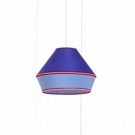 Llambë pezullimi moderne me abazhur blu pambuku prodhuar në Itali - sojë