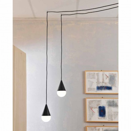 Dizajn modern 2-dritë llambë varëse e zezë Drop
