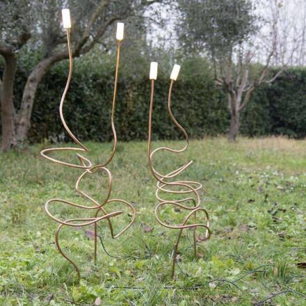 Llambë e jashtme në bakër natyror me xham dekorativ prodhuar në Itali - Fusillo