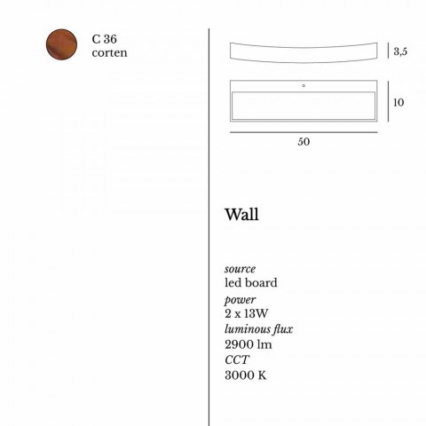 Llambë muri me dizajn modern Eldora në çelik L50x H3.5xSp.10 cm