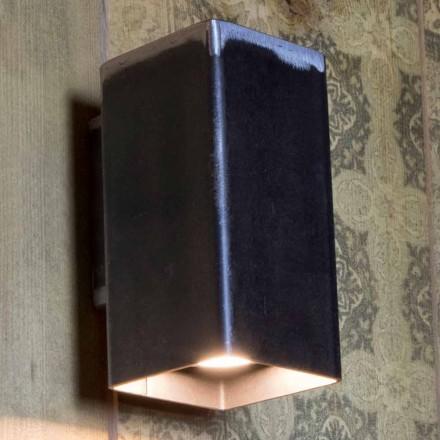 Llambë muri katrore e punuar me dorë në hekur të zi prodhuar në Itali - Cubino