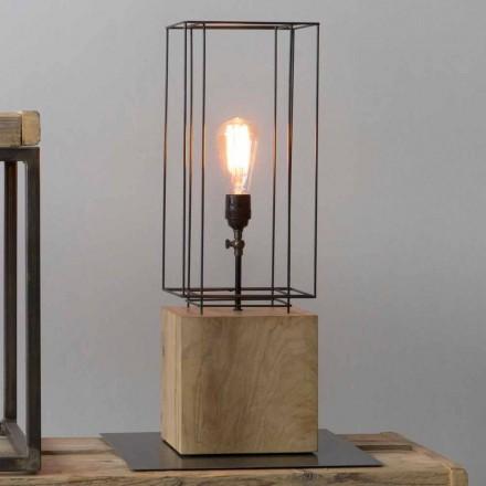 Llambë tavoline e punuar me dorë prej hekuri me bazë druri të prodhuar në Itali - Pema e Ullirit
