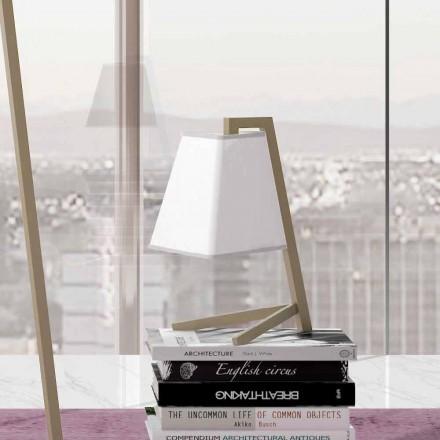 Llambë tavoline me strukturë në metal dhe pëlhurë të prodhuar në Itali - Barton