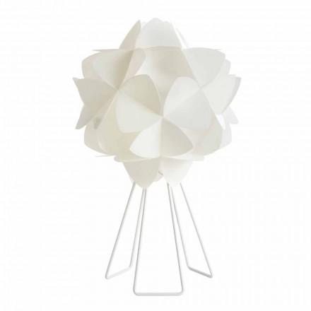 Llambë tavoline dizajni modern Kaly, perla e bardhë, me diametër 46 cm