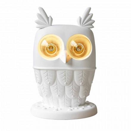 Llambë tavoline në Matt White White Qeramike 2 Dritat Owl me dizajn modern - Owl