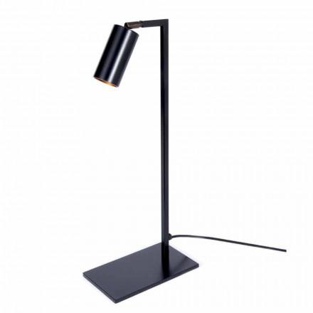 Llambë tavoline në hekur dhe alumin të zi mat me LED prodhuar në Itali - Agio
