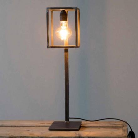 Llambë tavoline e zezë hekuri me kabllo pambuku prodhuar në Itali - Unike