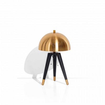Llambë tavoline në metal të zi dhe tunxh të krehur prodhuar në Itali - Peter