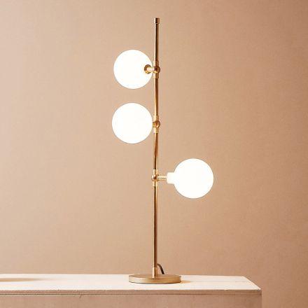 Llambë tavoline moderne e punuar me dorë në tunxh me LED prodhuar në Itali - Grippa