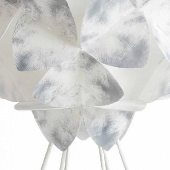 Llambë moderne tryeze në metal të bardhë, 46 cm me diametër, Kaly