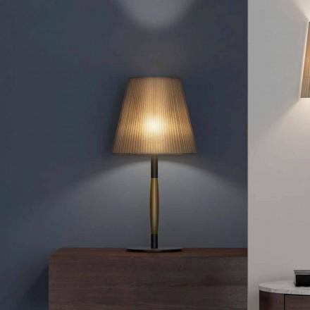Llambë tavoline moderne në metal, dru dhe organza prodhuar në Itali - Boom
