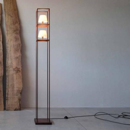 Llambë dyshemeje hekuri e punuar me dorë Corten e përfunduar e bërë në Itali - Kulla