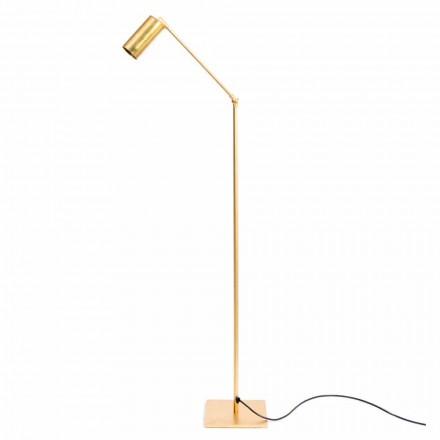 Llambë dyshemeje artizanale në bronz natyral me LED prodhuar në Itali - Agio