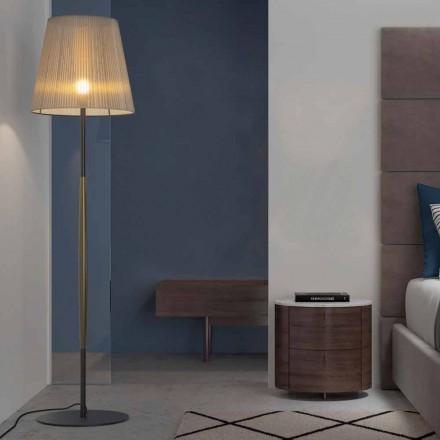 Dizajni llambë dyshemeje në metal, dru dhe organza prodhuar në Itali - Boom