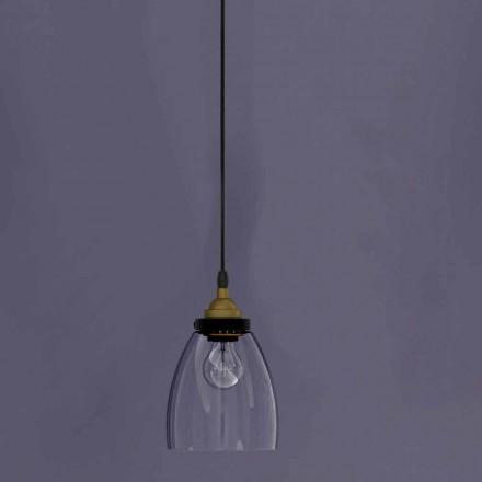 Dizajni Llambë e Pezulluar në Metale dhe Xham Transparente Prodhuar në Itali - Clizia