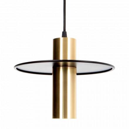 Llambë varëse e punuar me dorë në hekur dhe bronz me LED prodhuar në Itali - Astio