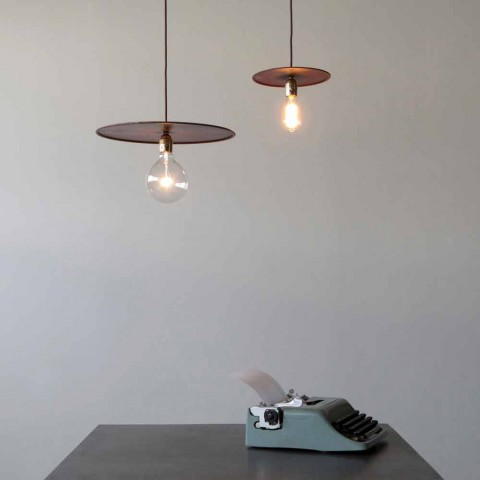 Llambë hekuri e pezulluar me kordon pambuku artizanal prodhuar në Itali - Ufo
