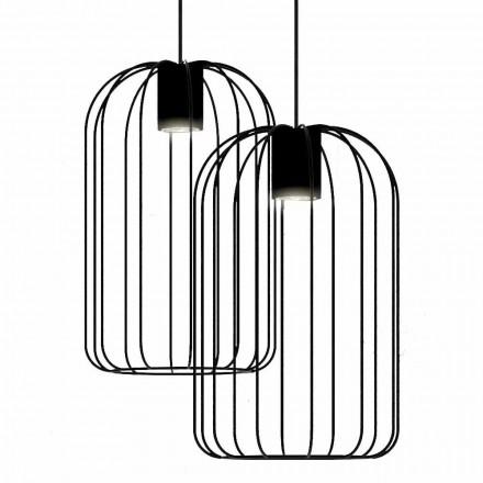 Llambë e Pezulluar Moderne me Strukturë Teli Metal prodhuar në Itali - Kafaz