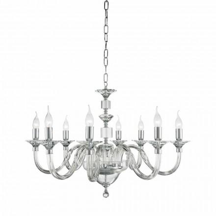 Llambadar klasik me 8 drita të bëra prej qelqi me dekorime kristali Ivy