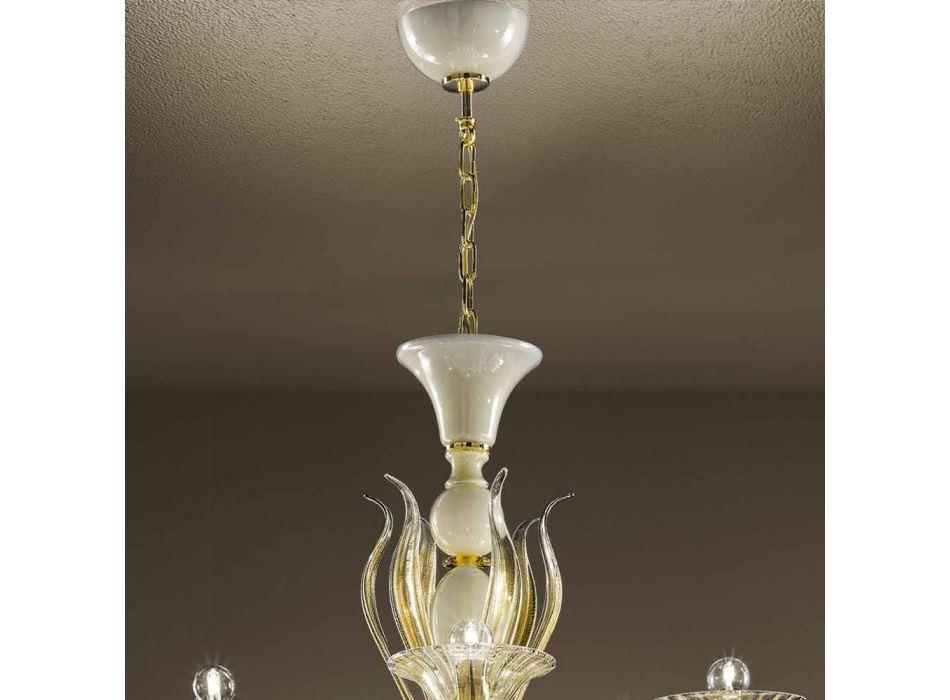 15 Llambadar Dritash në Qelqi Venedikut të Bardhë dhe të Artë, Prodhuar në Itali - Agustina